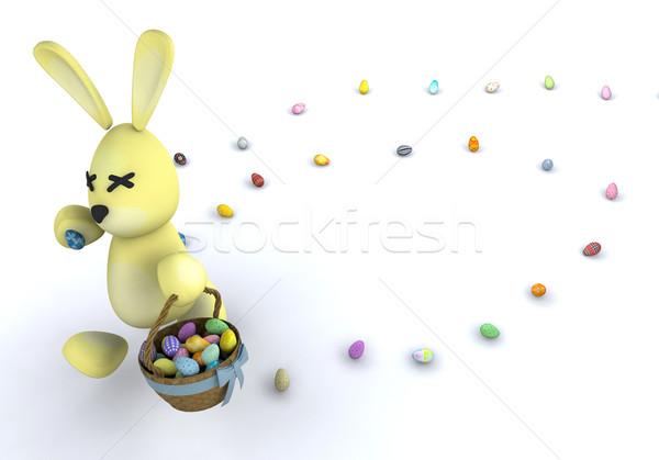 Conejo de Pascua huevos de Pascua vacaciones juguete huevo de Pascua cesta Foto stock © kjpargeter