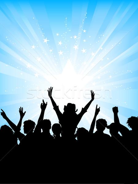 Crowd on starburst background Stock photo © kjpargeter