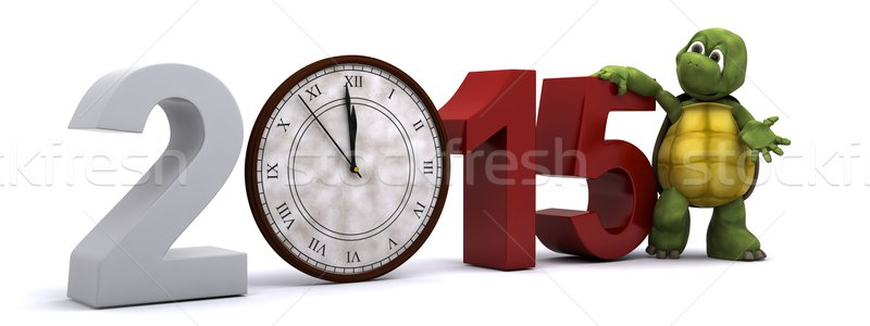 tortoise with a clock at new years Stock photo © kjpargeter