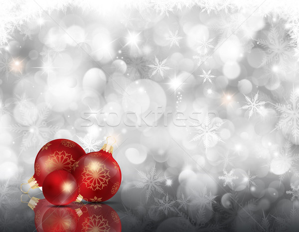 Christmas snowflakes and baubles Stock photo © kjpargeter