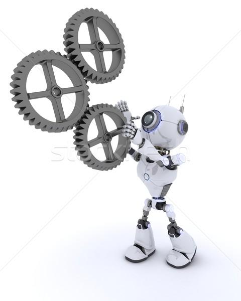 Foto stock: Robot · artes · 3d · hombre · trabajo · futuro