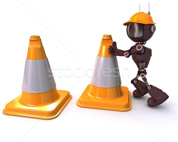 Androide precaución 3d carretera hombre seguridad Foto stock © kjpargeter