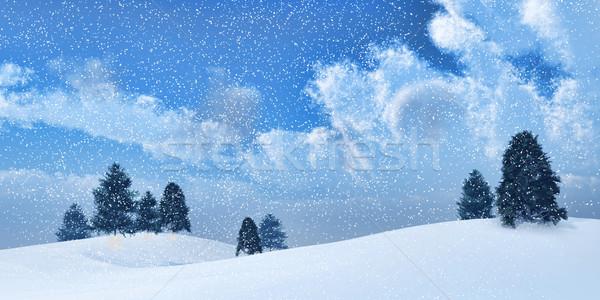Tél tájkép 3d render fák háttér karácsony Stock fotó © kjpargeter