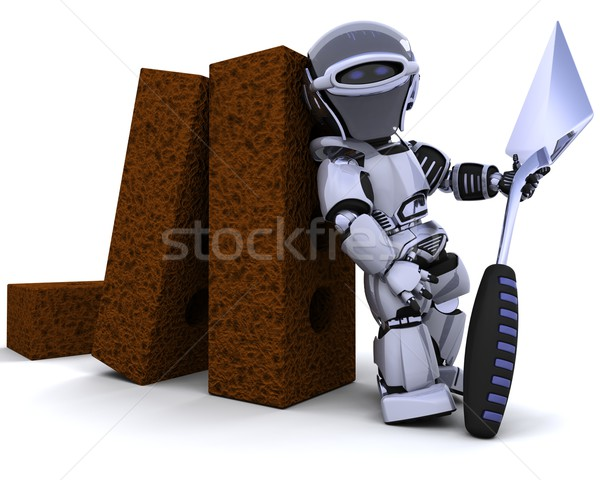robot with bricks and trowel Stock photo © kjpargeter