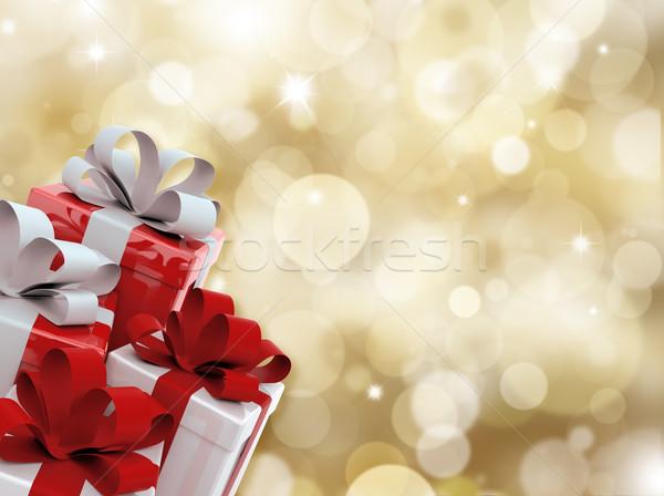 クリスマス 贈り物 ぼやけた ライト 背景 星 ストックフォト © kjpargeter