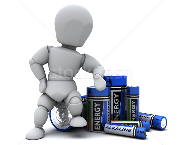 Man with Alkaline Batteries Stock photo © kjpargeter