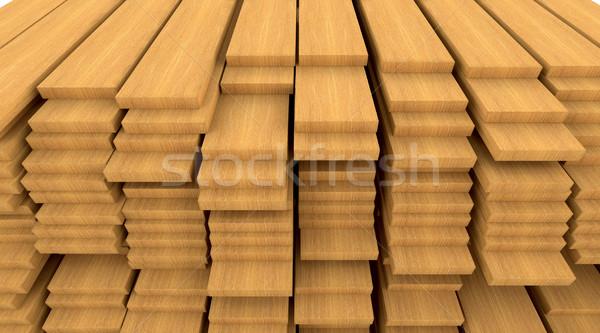 Bouwmaterialen hout 3d render houten bouw Stockfoto © kjpargeter