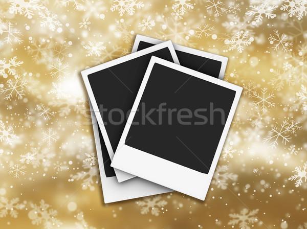 Hópehely zuhan hópelyhek keret tél csillag Stock fotó © kjpargeter