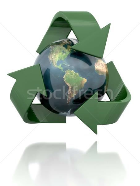 Foto stock: Reciclagem · globo · ícone · mundo · reciclar