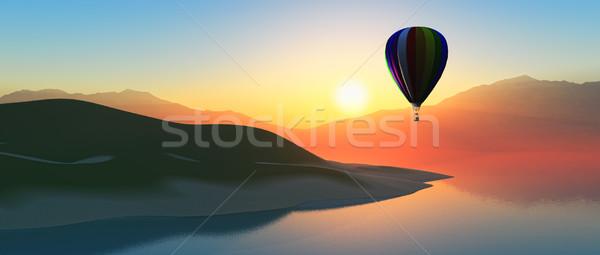 Hot air balloon at sunset Stock photo © kjpargeter