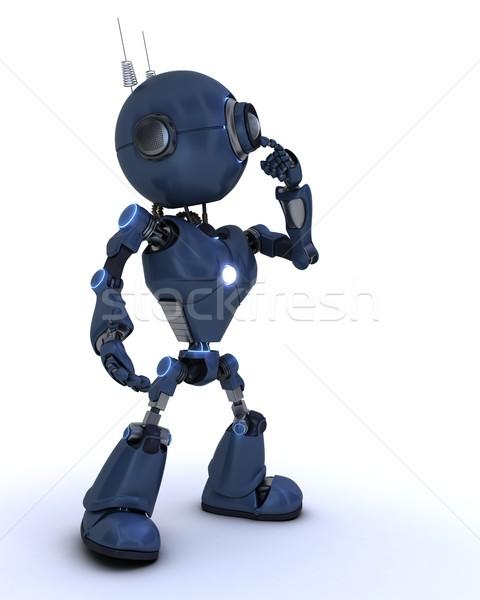 Android gondolkodik 3d render robot Stock fotó © kjpargeter