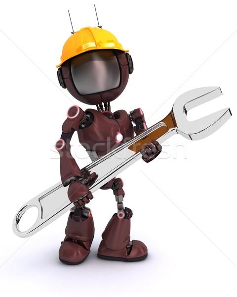 Android építész franciakulcs render munka robot Stock fotó © kjpargeter
