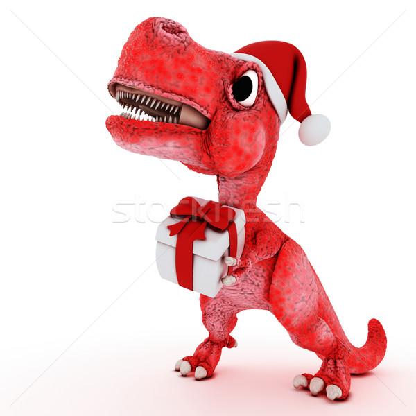 Friendly Cartoon Dinosaur with gift christmas box Stock photo © kjpargeter