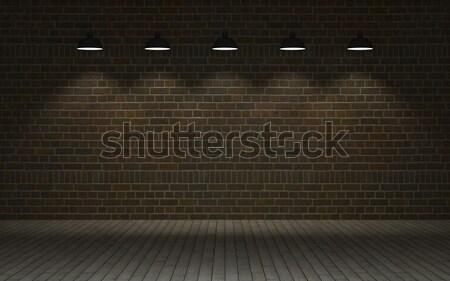 Védtelen téglafal 3d render fal raktár Stock fotó © kjpargeter