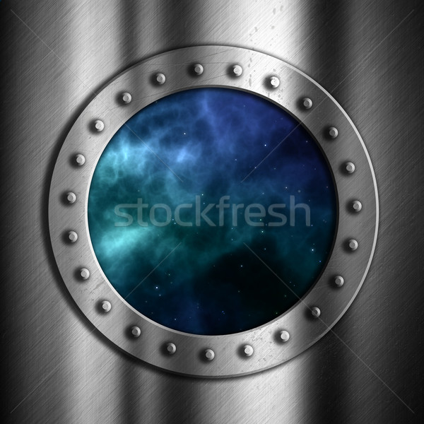 Brushed metal background with space porthole Stock photo © kjpargeter