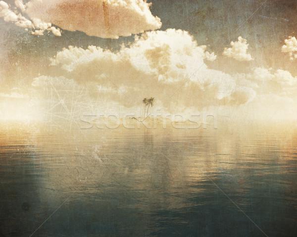 Grunge trópusi sziget kék tenger 3d render égbolt Stock fotó © kjpargeter