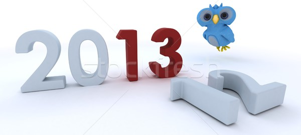 Cute Blue Bird Character  bringing in the new year Stock photo © kjpargeter