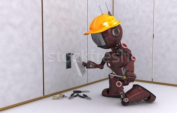 Android elektomos beszállító 3d render villanyszerelő technológia Stock fotó © kjpargeter