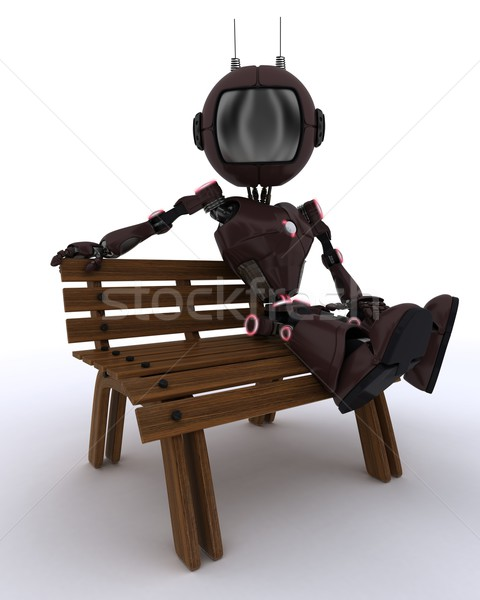 Android парка скамейке 3d визуализации человека Сток-фото © kjpargeter
