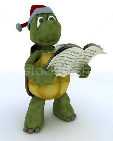 tortoise singing christmas carols Stock photo © kjpargeter