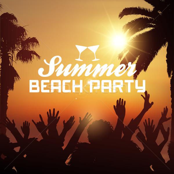 été plage fête silhouette foule tropicales Photo stock © kjpargeter