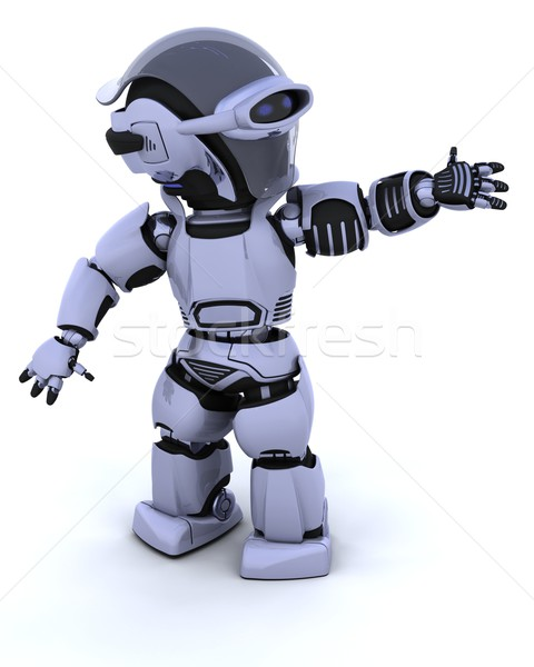 Cute robot cyborg rendu 3d Photo stock © kjpargeter