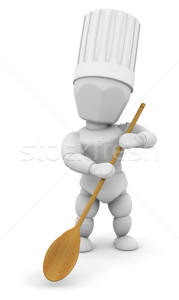 Stock photo: Chef with wooden spoon