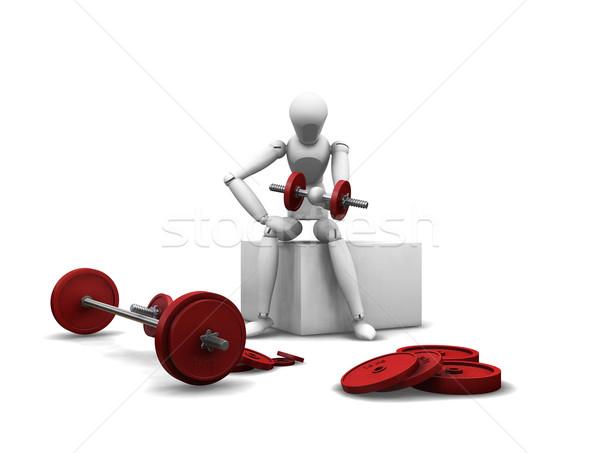 Gewichtheffen 3d render man witte gewicht dieet Stockfoto © kjpargeter