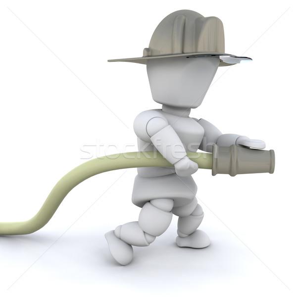 3D firefighter man Stock photo © kjpargeter
