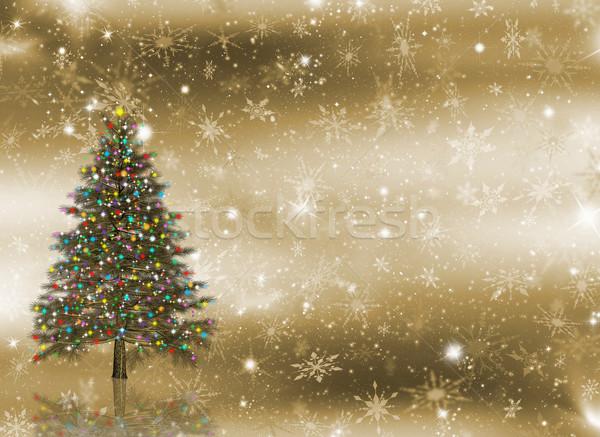 Stok fotoğraf: Noel · ağacı · ışıklar · kar · tanesi · kar · Noel