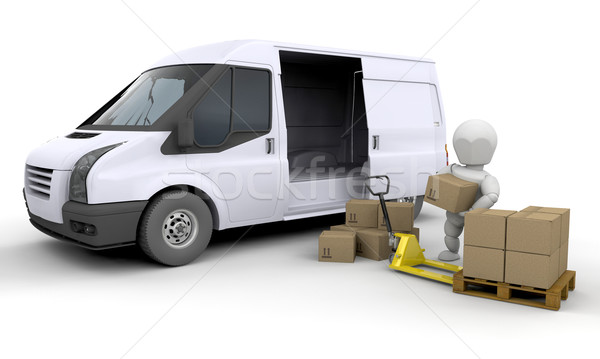 Unloading a van Stock photo © kjpargeter