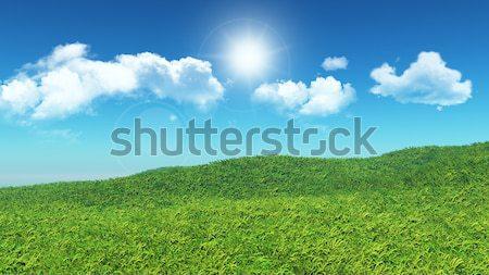 3D травянистый пейзаж холме облака Blue Sky Сток-фото © kjpargeter