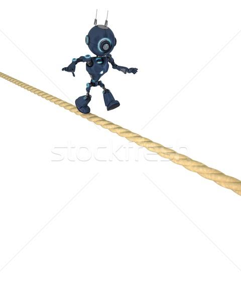 Andróide equilíbrio apertado corda 3d render Foto stock © kjpargeter