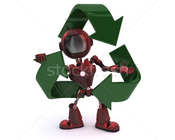 Android recycling symbool 3d render Stockfoto © kjpargeter
