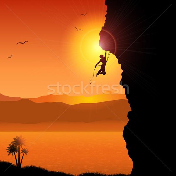 Extreme rock silhouet tropische landschap hemel Stockfoto © kjpargeter