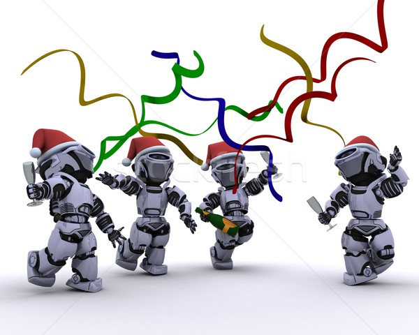 Robots celebrating at a christmas party Stock photo © kjpargeter