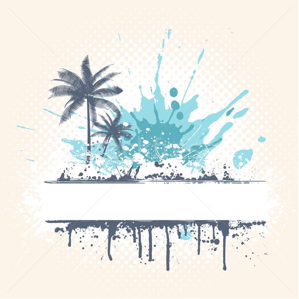 Сток-фото: Гранж · пальмами · стиль · дерево · весны · фон
