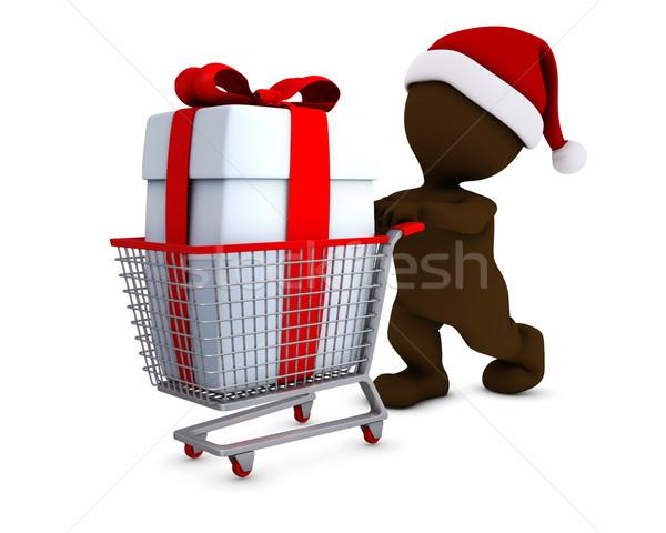 Férfi bevásárlókosár 3d render bolt ajándék kosár Stock fotó © kjpargeter