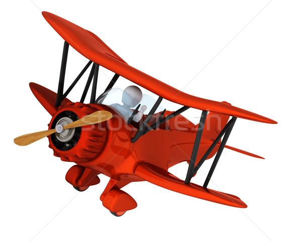 Férfi repülés klasszikus kétfedelű repülőgép 3d render repülőgép Stock fotó © kjpargeter
