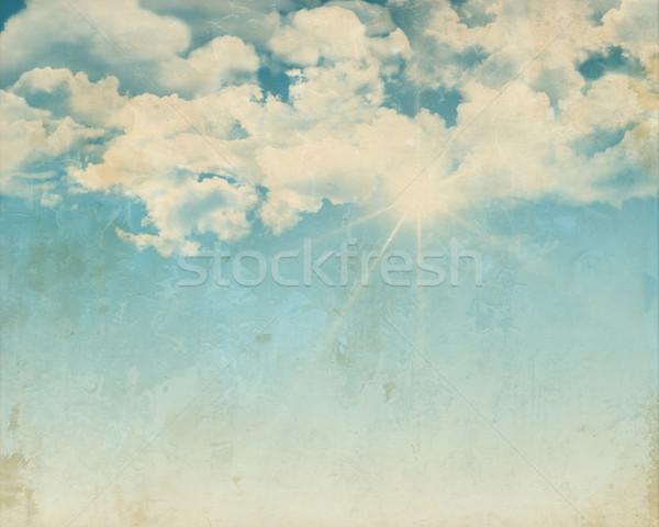 Grunge güneşli mavi gökyüzü stil dizayn kabarık Stok fotoğraf © kjpargeter