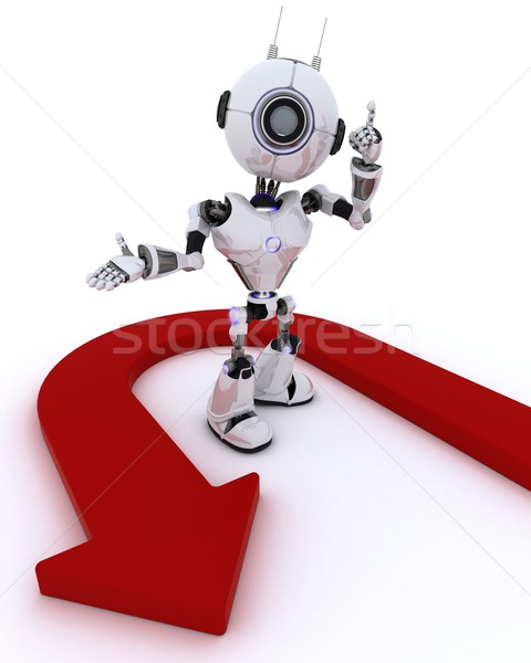 Foto stock: Robô · transformar · seta · 3d · render · homem · mapa