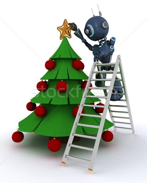 アンドロイド ツリー 3dのレンダリング 男 星 クリスマス ストックフォト © kjpargeter