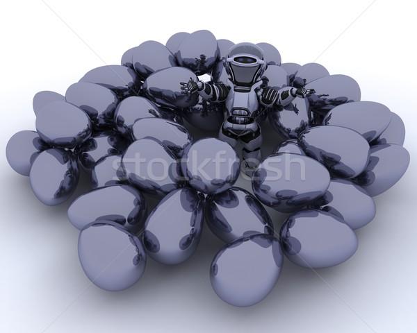 Robot ester eieren 3d render Pasen ei Stockfoto © kjpargeter