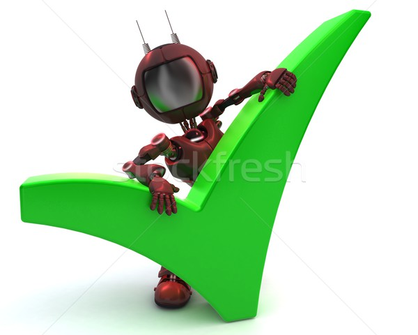 Android with tick symbol Stock photo © kjpargeter