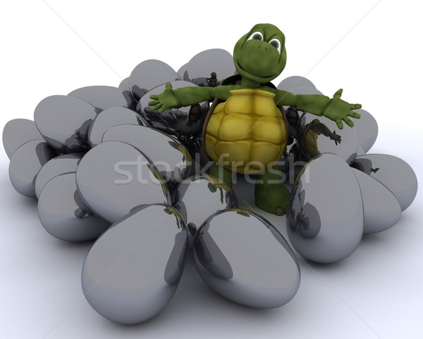 tortoise with easter eggs Stock photo © kjpargeter