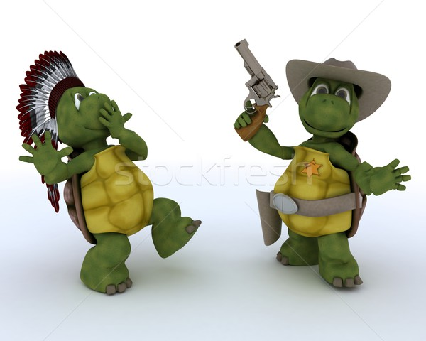 tortoises as cowboy and indian Stock photo © kjpargeter