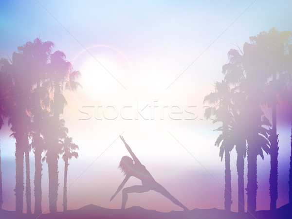 Female in yoga pose in summer palm tree landscape with retro eff Stock photo © kjpargeter