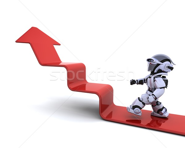Robot escalade graphique rendu 3d Finance avenir Photo stock © kjpargeter