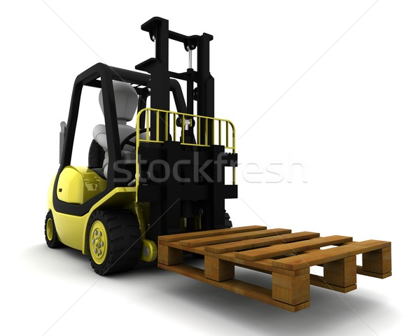 Man Driving Fork Lift Truck Isolated on White Stock photo © kjpargeter
