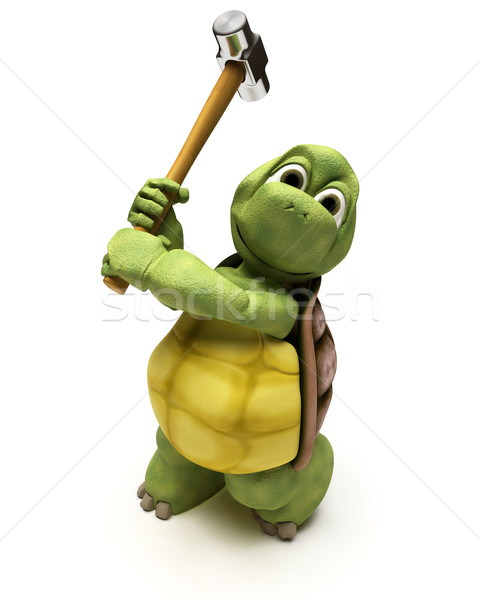 Tortoise with a sledge hammer Stock photo © kjpargeter